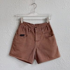 80s Vintage Denim Shorts High Waist Brown Size 2